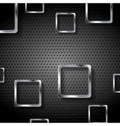 Abstract metal perforated background with squares vector