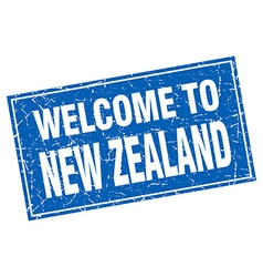 New zealand blue square grunge welcome to stamp vector