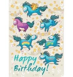 Birthday card with cute unicorns cartoon vector