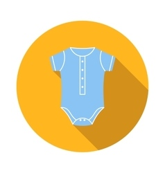 Blue baby bodysuit icon flat style vector