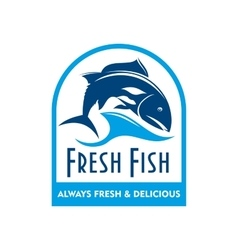 Blue badge of salmon in wave with text Fresh Fish vector image vector image