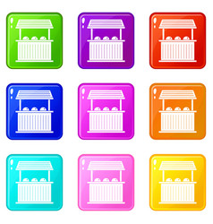 Carnival fair booth icons 9 set vector