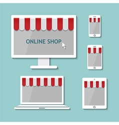 Computer laptop tablet and smart phone online shop vector