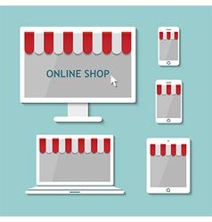 Computer laptop tablet and smart phone online shop vector