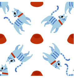 cute cats seamless pattern with funny cats vector image