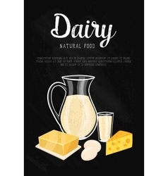 Dairy banner with natural food composition vector image vector image