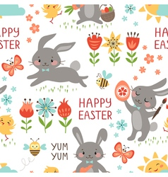 Easter rabbits pattern vector