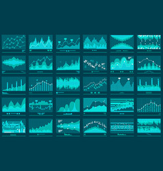 Financial line graphs business banner vector