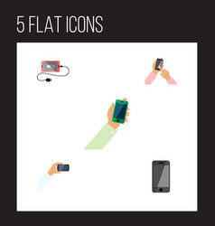 Flat icon phone set of interactive display vector