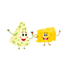 Funny cheese chunk character showing thumb up vector