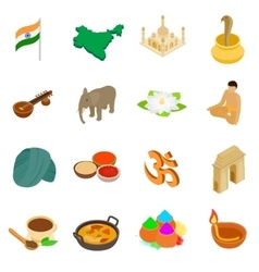 India isometric 3d icons set vector