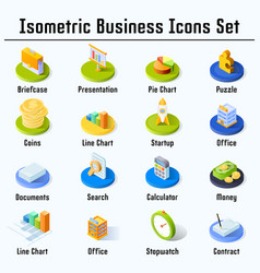 isometric business icons set vector image vector image