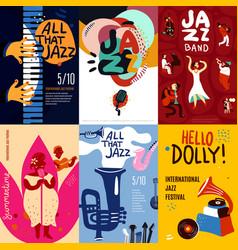 Jazz poster set vector