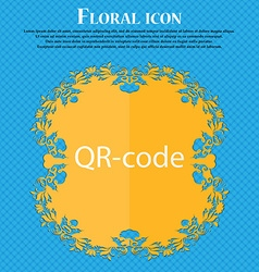 Qr-code sign icon scan code symbol floral flat vector