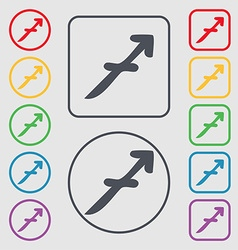 Sagittarius icon sign symbol on the round and vector