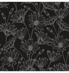 Seamless floral pattern with contours daisies vector