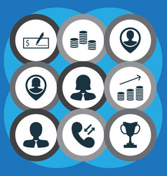 set of 9 human resources icons includes business vector image