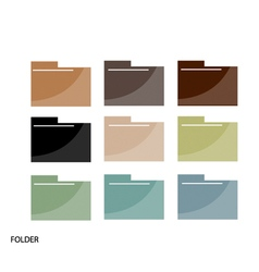 Set of File Folder Icons On White Background vector image