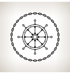 Silhouette ships wheel and chain vector