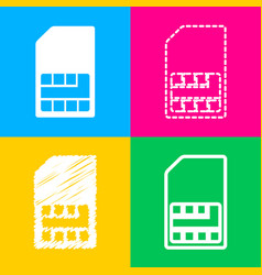 Sim card sign four styles of icon on four color vector