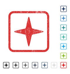 Sparkle star icon rubber watermark vector
