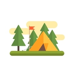 Tent in woods vector