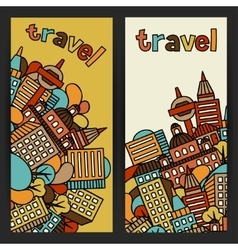 Town banners design with hand drawn houses vector