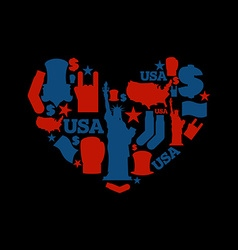 USA love Sign heart of United States traditional vector image