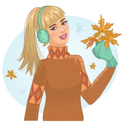 Young woman with autumn maple leaves in hand vector image vector image