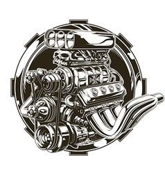 Cool detailed hot road engine with skull tattoo vector