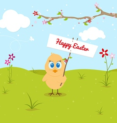 Easter chicken with signboard and clouds vector image