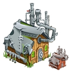 Factory in wooden private house cartoon style vector