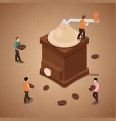 Miniature people grinding coffee beans in machine vector