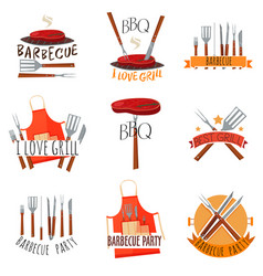 barbecue party label set vector image