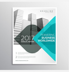 Blue annual report business brochure with curve vector