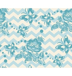 Seamless chevron floral background vector