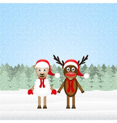 Reindeer and christmas lamb vector