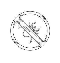 Warning sign of the tick sketch vector
