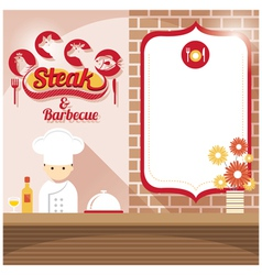 Chef at steak house shop counter with blank sign vector