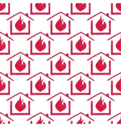 Watercolor seamless pattern with house in fire on vector