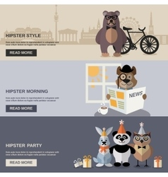 Animal hipster banner set vector