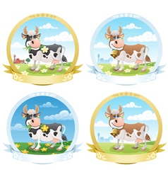 Dairy products labels vector