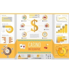 Set of casino gambling infographic elements with vector