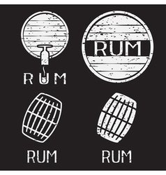 Grunge vintage labels set with barrels of rum vector