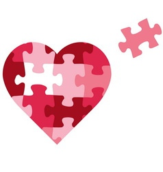 Puzzle heart icon vector