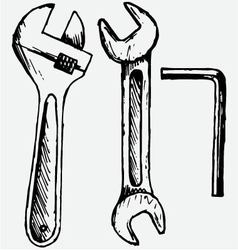 Adjustable wrench spanner vector image vector image