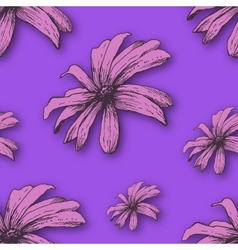 background with hand drawn flowers vector image