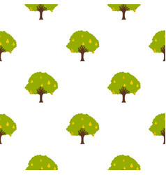 Big tree with fruit pattern flat vector