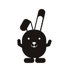 black silhouette rabbit with up hands vector image vector image