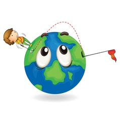 boy on earth planet vector image